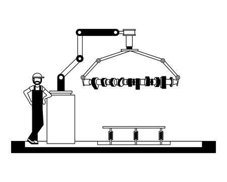 Operador fábrica automotriz brazo robótico biela ilustración vectorial en blanco y negro