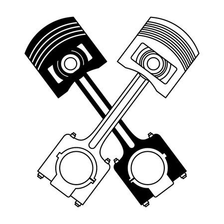 twee gekruiste zuigers reserveonderdelen auto vectorillustratie zwart-wit
