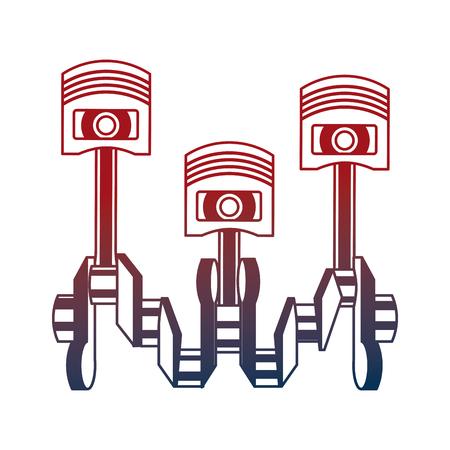 pistons crankshaft internal combustion engine automotive industry vector illustration neon Ilustração