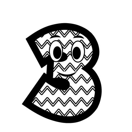 kawaii number character cartoon comic vector illustration black and white Фото со стока - 111664559
