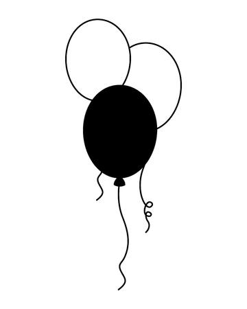 balloons decoration ornament party celebration vector illustration black and white