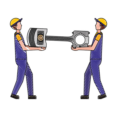worker mechanics with automotive piston spare part vector illustration