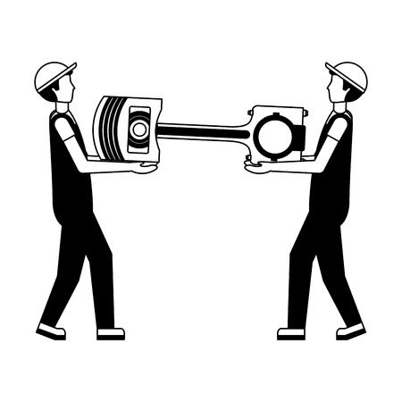 worker mechanics with automotive piston spare part vector illustration monochrome Ilustração
