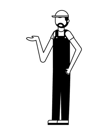 worker employee character with sport cap and overalls vector illustration black and white Stock fotó - 111664568