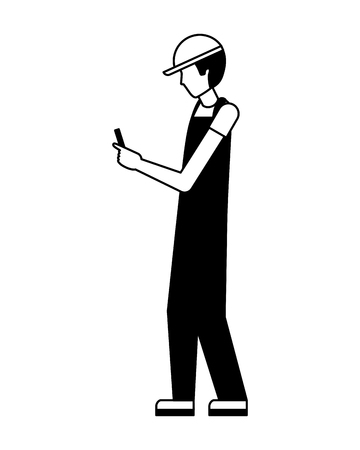 worker using cellphone wearing sport cap and uniform vector illustration black and white Иллюстрация