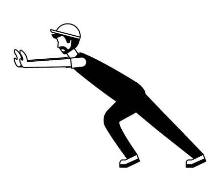 worker employee character with sport cap and overalls vector illustration black and white Çizim