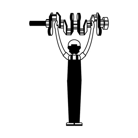 auto mechanic with cam tree spare part vector illustration black and white Vector Illustratie