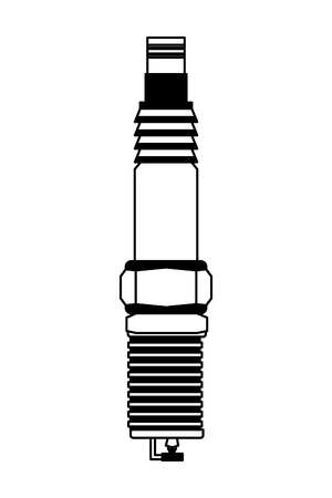 automotive spare part spark plug engine vector illustration black and white