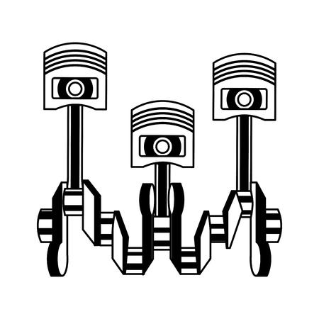pistons crankshaft internal combustion engine automotive industry vector illustration monochrome