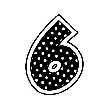 decorated six number font figure creative image vector illustration monochrome