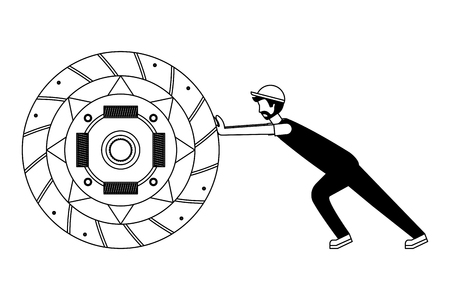 mechanic pushing clutch plate auto part vector illustration black and white