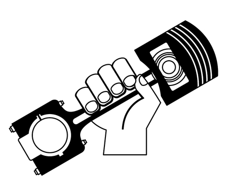hand holding auto spare part piston vector illustration black and white