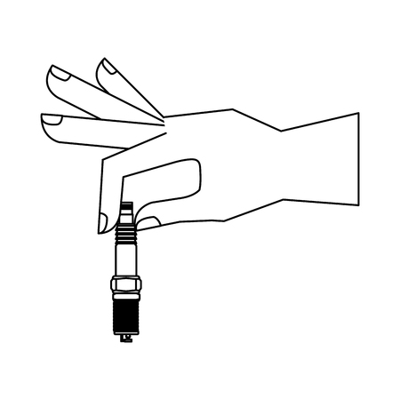 hand holding auto spare part spark plug vector illustration black and white