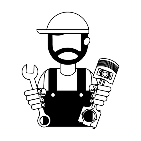 beard mechanic in uniform with piston and wrench vector illustration black and white Banque d'images - 111664597
