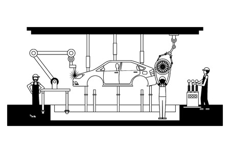 workers robot arms and assembly line automotive industry vector illustration black and white