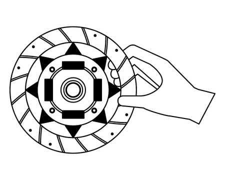 hand with clutch plate auto spare part vector illustration black and white Standard-Bild - 111664600