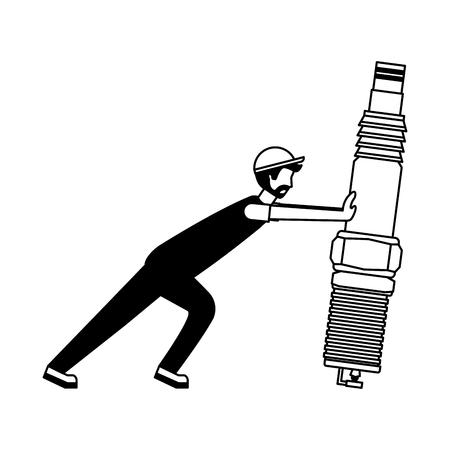 beard mechanic pushing spark plug automotive part vector illustration black and white