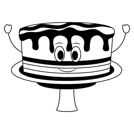 birthday cake kawaii cartoon comic sweet vector illustration black and white