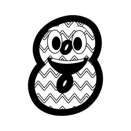 kawaii number character cartoon comic vector illustration black and white