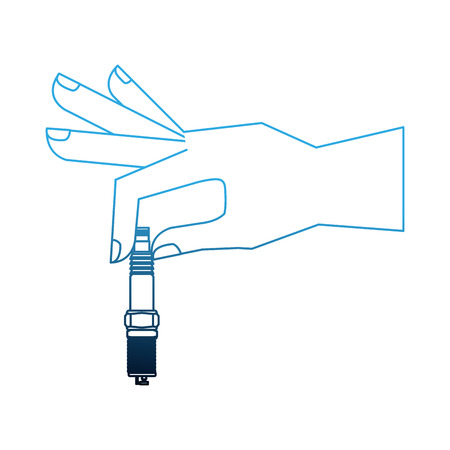 hand holding auto spare part spark plug vector illustration neon Illustration