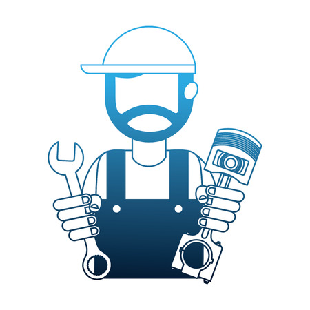 beard mechanic in uniform with piston and wrench vector illustration neon