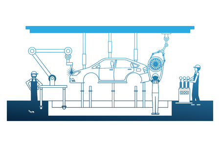 workers robot arms and assembly line automotive industry vector illustration neon Illustration