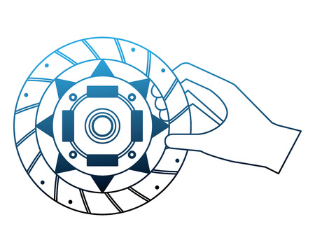 hand with clutch plate auto spare part vector illustration neon