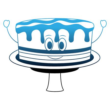 birthday cake kawaii cartoon comic sweet vector illustration neon