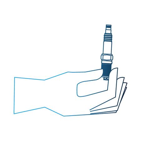 main tenant une pièce de rechange auto bougie illustration vectorielle néon
