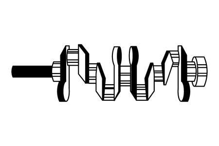 crankshaft spare part industry automotive vector illustration black and white