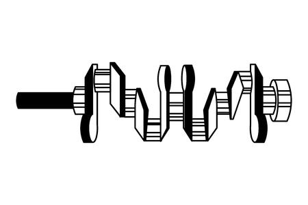 crankshaft spare part industry automotive vector illustration black and white