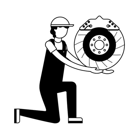 mechanic on the knee with brake disc auto part vector illustration black and white