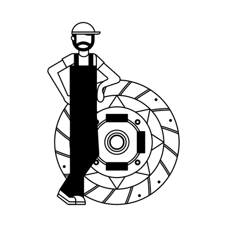 mechanic with clutch plate auto repair service vector illustration black and white Illustration