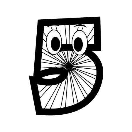 kawaii number character cartoon comic vector illustration black and white Фото со стока - 111664647