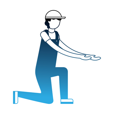 worker employee character with sport cap and overalls vector illustration neon Illustration