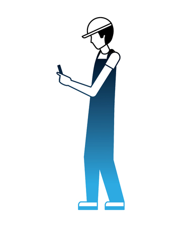 worker using cellphone wearing sport cap and uniform vector illustration neon