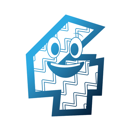 kawaii number character cartoon comic vector illustration neon