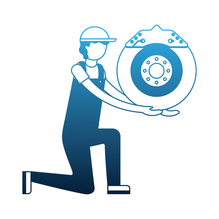 mechanic on the knee with brake disc auto part vector illustration neon 일러스트