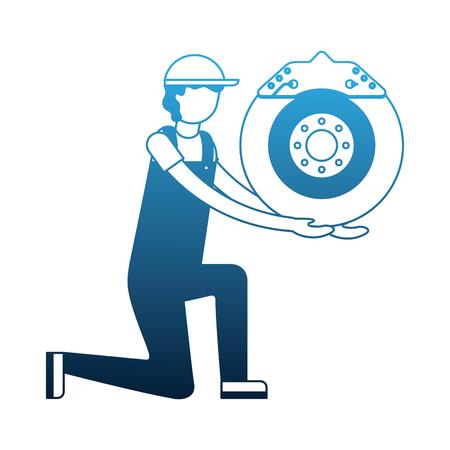 mechanic on the knee with brake disc auto part vector illustration neon Illustration