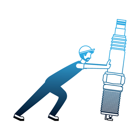 Mécanicien de barbe poussant la bougie d'allumage au néon de l'illustration vectorielle de la partie automobile