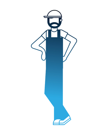 worker employee character with sport cap and overalls vector illustration neon Çizim