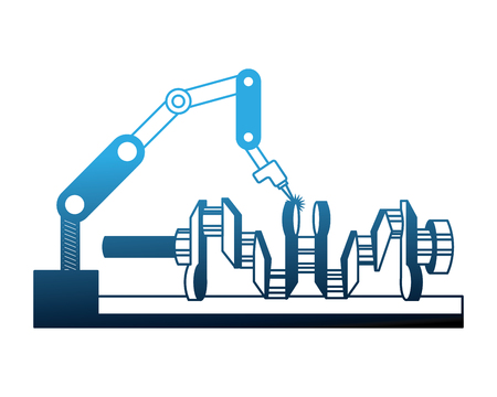 automotive part camshaft with robotic arm vector illustration neon Ilustração