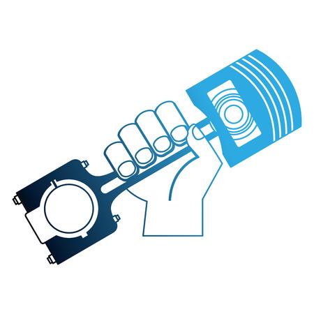 mano che tiene l'illustrazione vettoriale del pistone del pezzo di ricambio dell'auto neon