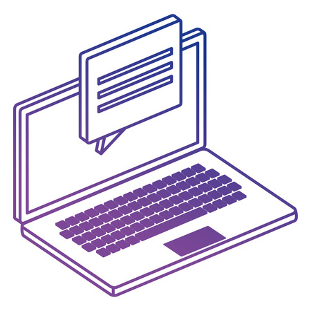 laptop computer with speech bubble vector illustration design