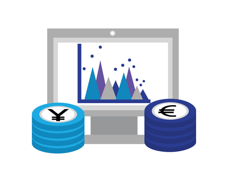 euro and yen business in computer vector illustration design