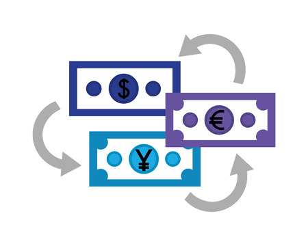 dollar euro and yen business bills vector illustration design