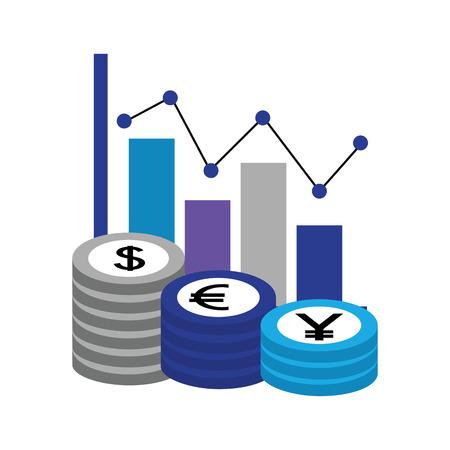 dollar euro and yen business statistics bars vector illustration design