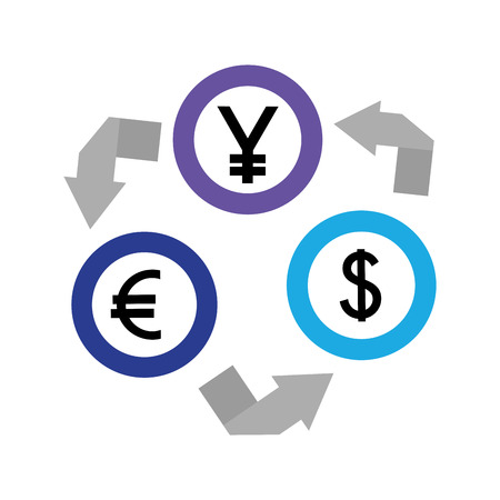 dollar euro and yen coins vector illustration design