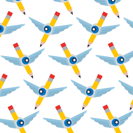 pencil write with wings and eye pattern vector illustration design