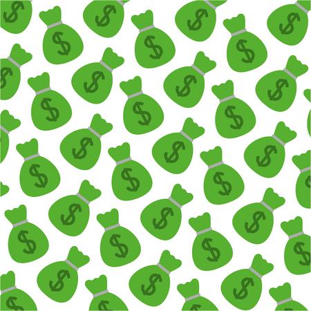 money bag dollars pattern vector illustration design Ilustração